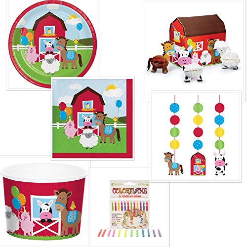 Birthday Boy Cupcake - Barnyard Farmhouse Boys Birthday Party Bundle Includes: Dessert Plates, Beverage Napkins, Cups, Centerpiece, Dizzy Danglers, ColorFlame Candles and Grandma Olive's Barnyard Cupcake Recipe