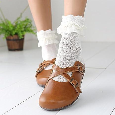 ZHANGJIANJUN Herbst Frauen Kawaii Prinzessin Weiss Schwarze Spitze Lolita Socken Retro Rüschen Nette Damen Rüschen Flower Socken 2