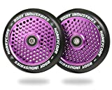 120mm Honeycore Pro Stunt Trick Kick Scooter Wheels (Pair) - Fast Hollowcore - Push Scooter Tires - 120mm Freestyle Speed Urethane - Fit Most Setups - 24mm x 120mm - Bearings (Black/Purple)