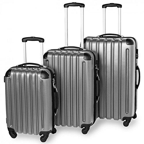 3-teiliges ABS Reisekofferset, Hartschalenkoffer, Ultraleicht, 360° Rollsystem, 4 Rollen, Aluminium-Teleskopstange, Grau