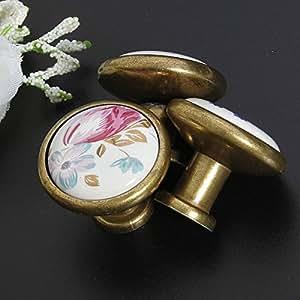 Pink Lizard Flower Tulip Ceramic Cabinet Cupboard Drawer Wardrobe Pulls Handle