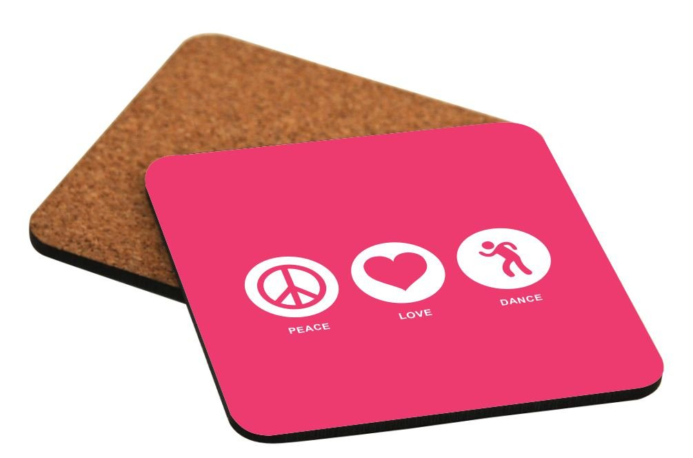 Rikki Knight Peace Love Dance Tropical Pink Color Design Cork Backed Hard Square Beer Coasters, 4-Inch, Brown, 2-Pack