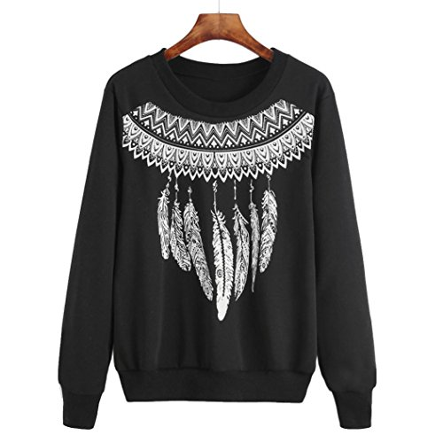 Sweatshirt ,BeautyVan Fashion Womens Feather Print Long Sleeve Sweatshirt Pullover