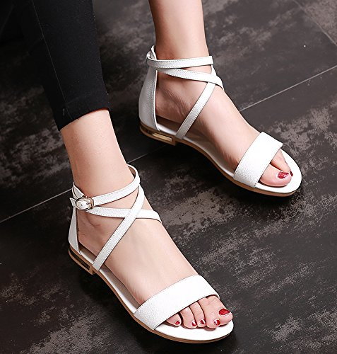 New White Sandals Open Strap Ankle Ladies Women's Toe Aisun f1q5xZZ