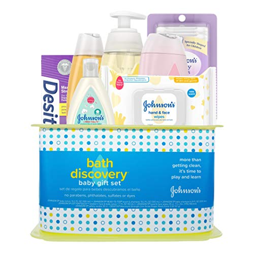 Johnson's Bath Discovery Baby Gift Set, Baby Bath Time Essentials for Parents-to-Be, 7 - Essentials Gift