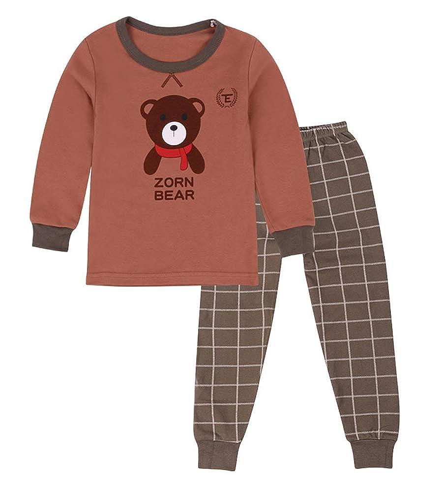 Smibra Kids Cute Bear Pattern Plaid Pants 2PC Pajamas Set for Sleeping