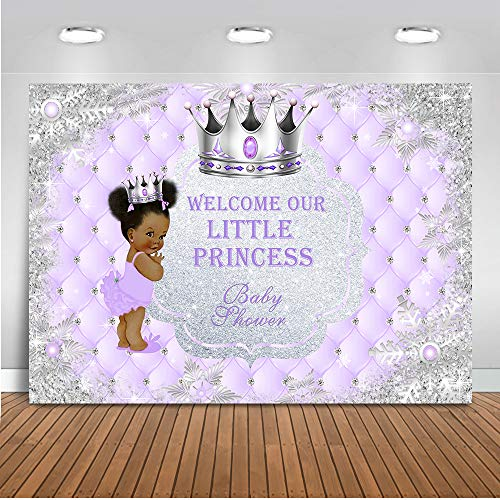 Mocsicka Little Princess Baby Shower Backdrop 7x5ft Baby Shower Black Skin Girl Silver Crown Photo Backdrops Welcome Princess Photography Background]()