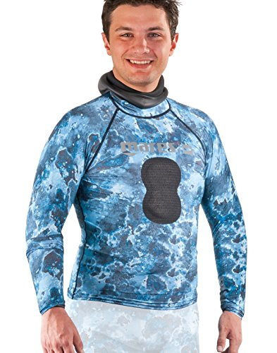 Mares Spearfishing Freediving Rash Guard Top with Chest Pad, Blue Camo, Medium
