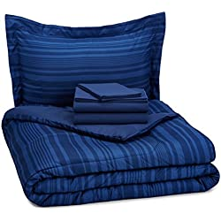 AmazonBasics 5-Piece Bed-In-A-Bag - Twin/Twin Extra Long, Blue Calvin Stripe
