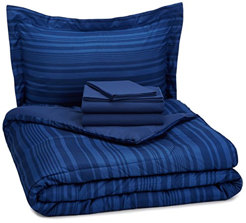 AmazonBasics 5 Piece Bed In A Bag   Twin/Twin Extra Long, Blue Calvin Stripe