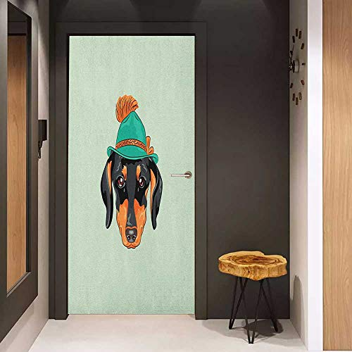 Toilet Door Sticker Dachshund Hipster Pure Breed Dog Silhouette in a Green Tyrolean Hat Cute Dachshund Puppy Glass Film for Home Office W17.1 x H78.7 Multicolor