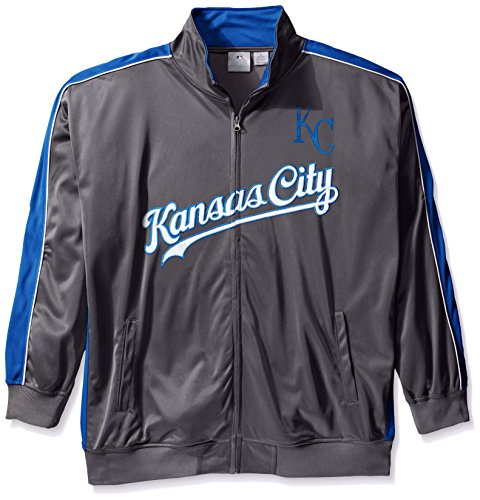 (Profile Big & Tall MLB Kansas City Royals Men's Team Reflective Tricot Track Jacket, 4X, Charcoal/Royal)