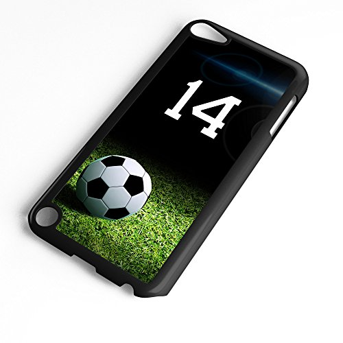 iPod Touch Case Fits 6th Generation or 5th Generation Soccer Ball #6500 Choose Any Player Jersey Number 14 in Black Plastic Customizable by TYD Designs ()