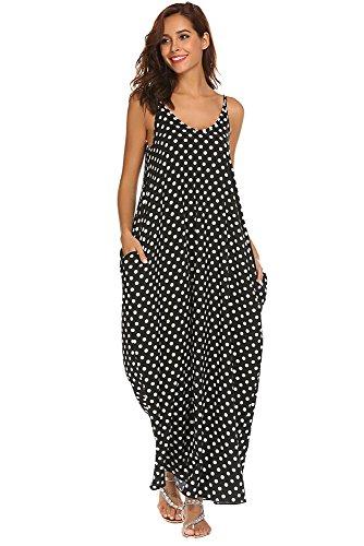 Qearal Womens Loose Strappy V Neck Boho Chiffon Pocket Long Maxi Party Beach Dress (Z# Black, XL) - Boho Long Maxi Dress