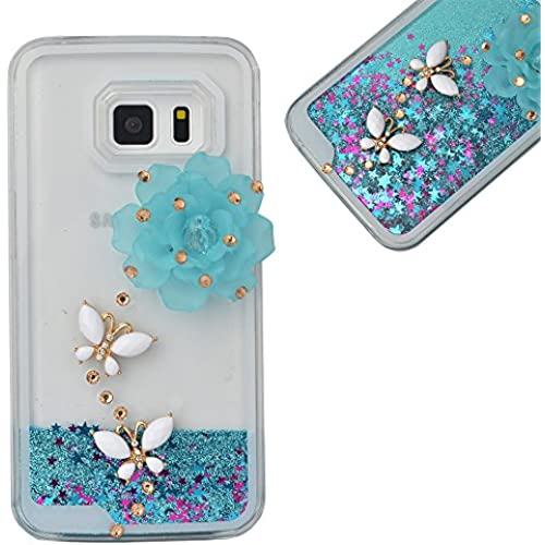 Spritech(TM) Hard Clear Phone Case For Samsung Galaxy S7 Edge,3D Handnade Crystal Blue Flower White Butterfly Sales