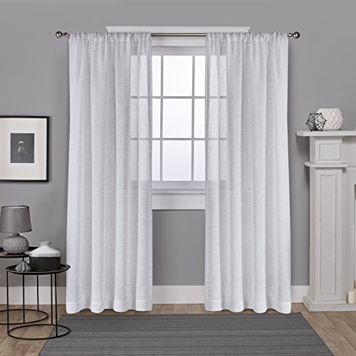 Exclusive Home Foil Belgian Metallic Linen Sheer Window Curtain Panel Pair with Rod Pocket, 54x84, Winter White, 2 Piece