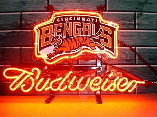 "Desung 14""x10"" Budweisers Cincinnati Sports Team Bengal Neon Sign (VariousSizes) Beer Bar Pub Man Cave Glass Light Lamp BW21"