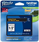 "Brother P-touch ~1/2"" (0.47"") Gold on Black Standard Laminated Tape - 26.2 ft. (8m)"