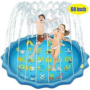 Bluefish Splash Pad, 68 Inches Splash Play Mat Outdoor Water Play Sprinklers Summer Sprinkle Wading Pool, Sprinkler for…