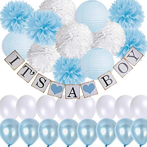 Elephant Baby Shower Decorations for Boy-IT'S A BOY Banner Baby Blue mix White Tissue Pom Poms Paper Lanterns with Balloons Set for Welcome Baby Party Newborn Party 1st Birthday Party -