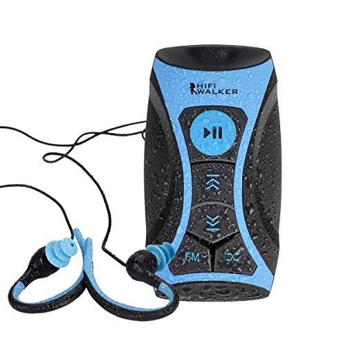 HIFI WALKER 100% 8gb Waterproof MP3 Player with FM Radio and Underwater Headphones for Swimming by Swimmer – Blue