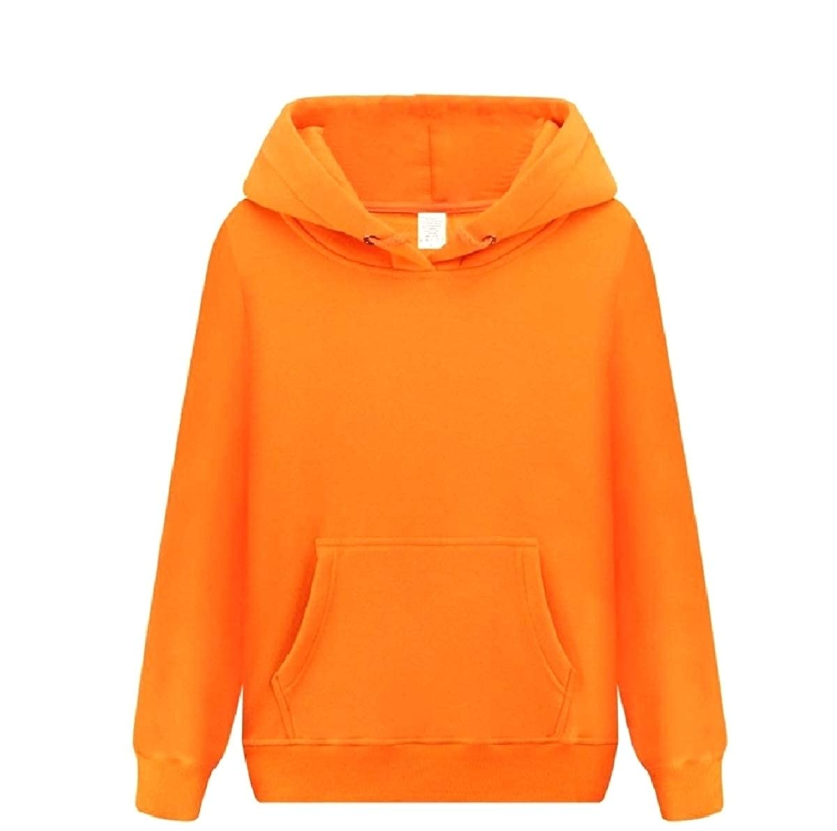 YUNY Mens with Pockets Pea Coat Solid Color Thickened Hoodies Sweater Orange XL