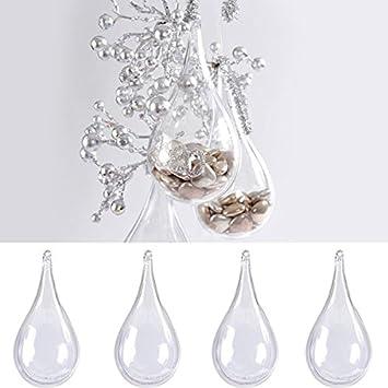 9f71478bbd Pinzhi 10x Boule Creuse Plastique à Remplir Boîte Bonbons Transparent  Ornement Mariage Décoration Suspendue pour Arbre