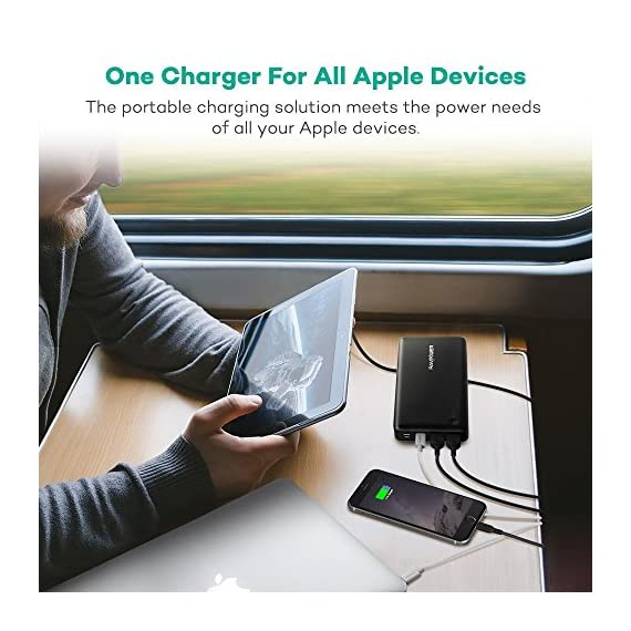 Portable Charger RAVPower 26800mAh 30W PD USB C Power Bank High-Capacity Power Delivery External Battery Pack with Fast… 7 【Large Capacity】:The massive 26800mAh battery capacity provides more than 4 charges for iPhone 11 Pro Max, 6 full chargers for Samsung S20, 7 full charges for Huawei P40, one and a half charges for iPad Pro; fully compatible with iPhone 11/12/12Mini/12 Pro/12Max Pro/XS / XS Max / XR, Samsung Galaxy S20/S10/S9/S8/S7 and other USB devices. 【Massive 30W Type-C Output】: Deliver a 30W high-speed charge to phones, tablets, laptops, and more via the two iSmart ports; recharge the 26800mAh battery through the Type-C port in just 4-5 hours (compared to the standard 14 hours). 【Multiple Outputs】:The Type-C output reaches up to 30W that matches the original AC MacBook charger, so you can charge all devices including a MacBook in no time; additional two 2.4A iSmart ports support more devices charging at the same time.