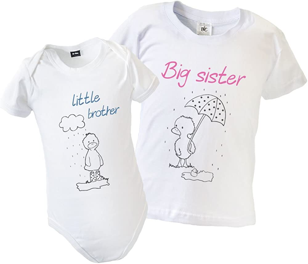 Big Brother Little Sister Matching T-Shirt and Babygrow with Cute Elephant Design 1-2yrs - 3-6mths
