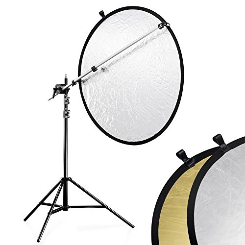 SHOPEE Studio Photography Disc Kit with Holder Arm Light Stand and 43-inch 5-in-1 Collapsible Reflector (Gold, Silver, White, Black, Translucent)
