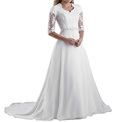 Miao Duo Women's Gowns Lace With 3/4 Illusion Sleeves Wedding Bridal Dresses at Women's Clothing store