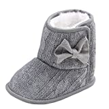 Annnowl Baby Snow Boots Knitted Crib Shoes with Bow
