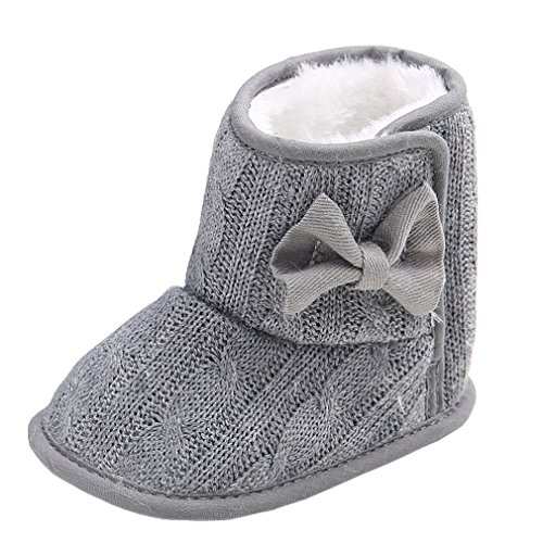 Price comparison product image Annnowl Baby Snow Boots Knitted Crib Shoes with Bow 0-18 Months (6-12 Months, Grey)