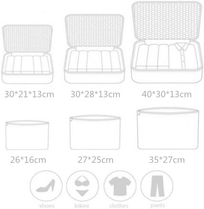1 Saco de Zapatos(Black) 1 Ropa de ba/ño 7 Set de Organizador de Equipaje-3 Cajas de Cubos 2 Pouches