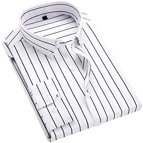 DOKKIA Men's Casual Long Sleeve Vertical Striped Slim Fit Dress Shirts (White Black, Medium) ()