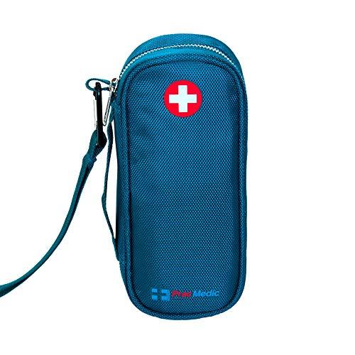 PracMedic EPIPEN Case, Insulated - Holds 2 Epi Pens/Auvi-Q, Asthma Inhaler, Generic Benadryl Small, Nasal Spray, Eye Drops, Medicine, Vials, Syringes, Ice Pack- Sold Empty (Teal)