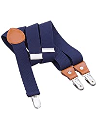 Toddler Boys Mens Elastic Suspenders - Y Back Adjustable Strong Clip Synthetic Suspenders (Navy Blue, 27.6-29.5 Inch (3 Years - 8 Years))