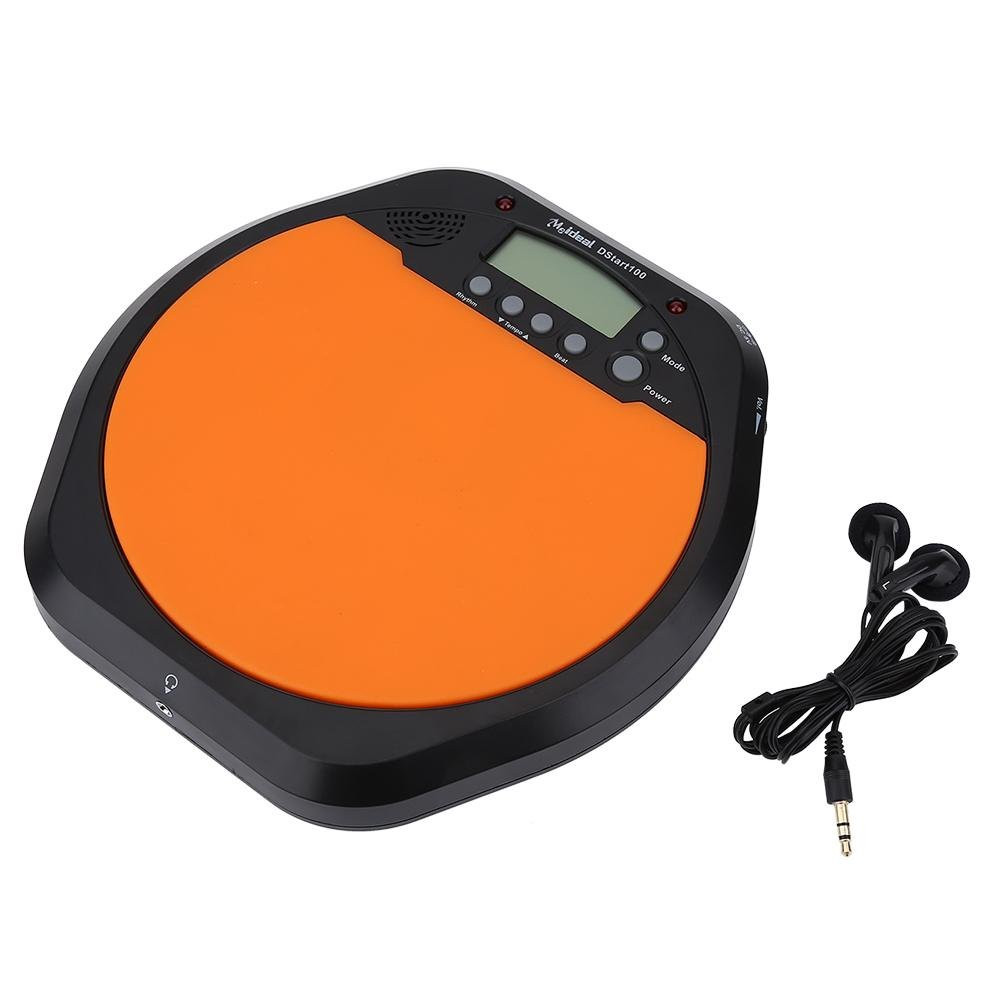 Drum Metronome Digital LCD Display Drummer Pad with Earphone for Training Practice by Dilwe