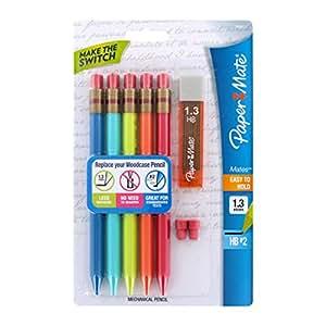 Paper Mate - Mates Triangular Mechanical Pencil 1.3mm. Starter Set, Assorted Colors (Pack of 5 Pcs.)