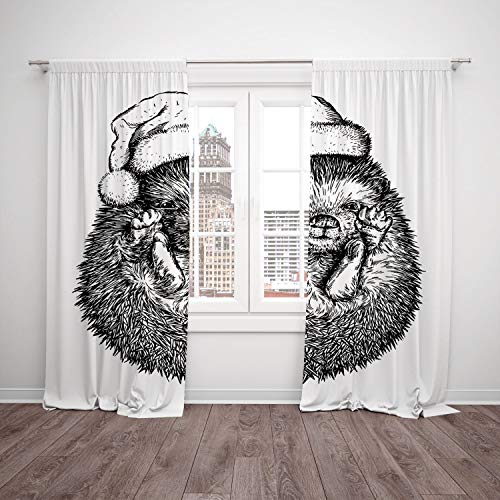 SCOCICI Thermal Insulated Blackout Window Curtain [ Hedgehog,Monochrome Hedgehog Winter Attire Funny Hat Cute Animal Fauna Image Print,Black White] Bedroom Living Room Dorm Kitchen Cafe