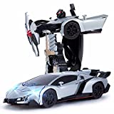 Blossom Deform Robot Sports Car Toy with Convertible Robot with Lights, Music & Bump & Go Function for Kids, White (Image may vary)