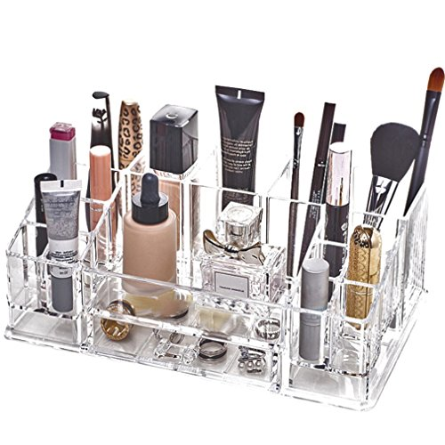 Clear Acryl Diy Desktop Plastic Acrylic Skin Care Lipstick Nail Makeup Brush Cosmetic Organizer clear LARGE