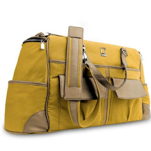 (Oversized Canvas Genuine Leather Shoulder Tote Carry On Bag For MSI GT Series Prestige 15.6'' Laptop Beige/Orange)