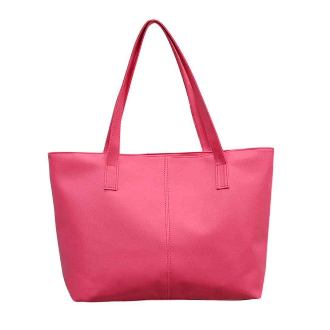 Tote Bag Leather,Clearance! AgrinTol Women Ladies Leather Shoulder Bag Celebrity Tote Purse (Hot Pink)