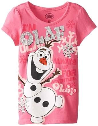 Disney Little Girls' Frozen Olaf Snowflake T-Shirt, Pink, 2T