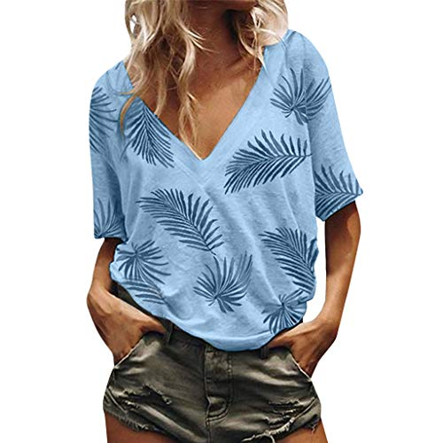 - Other-sey Women's Dress Summer Broadcloth Fashion Casual Loose V Neck Short Sleeve Print Blouse Daily Polyester Top Blue