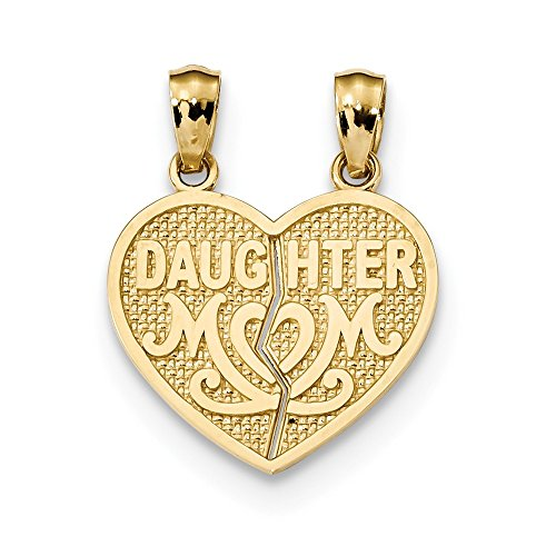 Roy Rose Jewelry 14k Yellow Gold Satin & Polished Daughter Mom Break Apart Heart (Daughter Break Apart Heart)