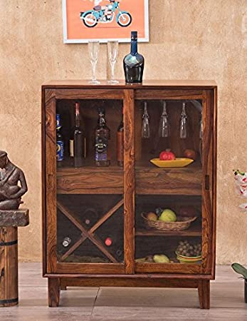 Mamta Decoration Wooden Stylish Liquer Bar Cabinet with Wine Glass Storage for Home | Bar Furniture | Honey Finish