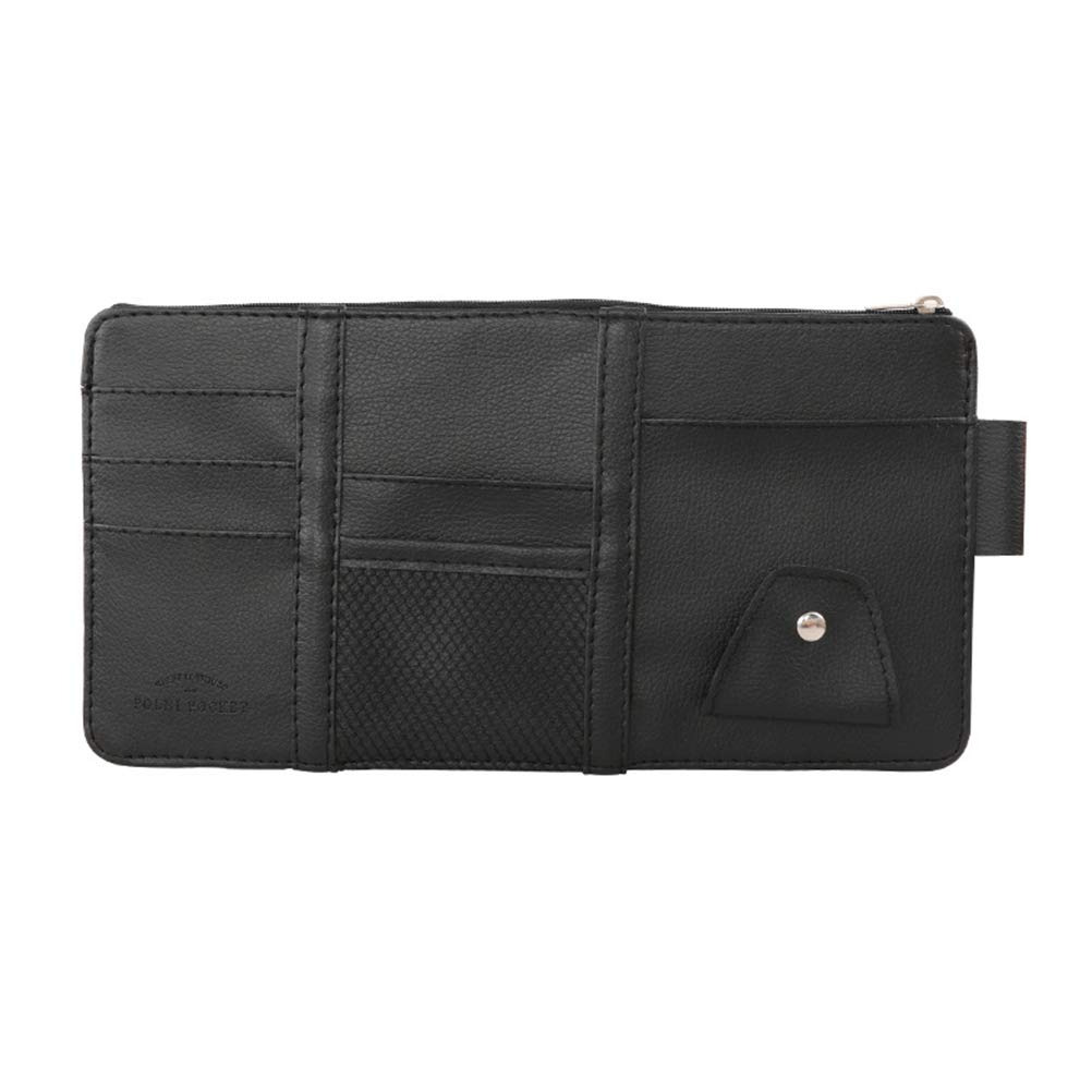 Car Storage Bag Holder for Tickets Driving License beige Credit Cards Parkomm PU Leather Multifunctional Sun Visor Bag