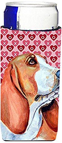 Basset Hound Hearts Love and Valentine's Day Portrait Ultra Beverage Insulators for slim cans (Basset Hound Dog Portrait)